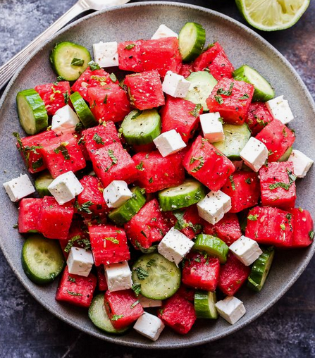 4th of July Watermelon, Cucumber + Feta Salad Recipe